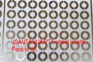 Pack B: 16 X OO gauge disc brake inserts fit Accurascale JSA/JTA/JUA/PTA wheels.