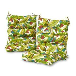 Outdoor High Back Dining Chair Cushion 22 in. x 24 in. Tie Attachment Reversible