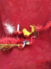 Exceptional Five 5 Collection Various BiRDS & Glass CANDLE Christmas Decorations