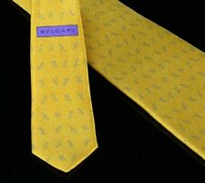 Bvlgari Mens Seven Fold Tie Size 60X4 Gold 100% Silk Made in Italy