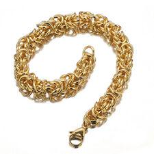 Byzantine Bracelet Mens Boys Chain 8mm 18K Gold Tone Polished Stainless Steel