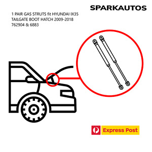1 PAIR GAS STRUTS fit HYUNDAI IX35 TAILGATE BOOT HATCH 2009-2018  762904 & 6883