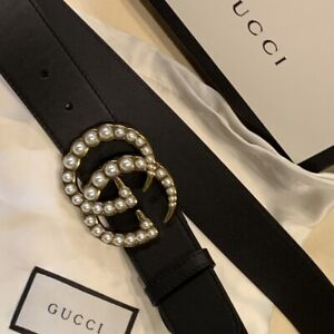 Gucci GG faux pearl-embellished leather belt size 105cm