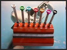 Oak Screwdriver stand 7pc set with Sharpener Swiss watchmakers tool IW SUISSE US