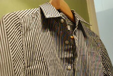 "TOPMAN GOTHIC SHIRT BLACK WHITE PINSTRIPE TIM BURTON XXS 32-34"" SLIM BETTLEJUICE"