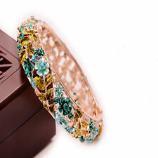 Bracelet Party Women Enamel Crystal Hollow Stained Cloisonne Flower Bangle