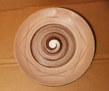 "SANTA ANITA Vreni 12"" Chop Plate Round Platter Stylized Spirals Brown and Pink"