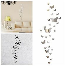 30x 3D Mirrors Butterfly DIY Wall Stickers Removable Art Decals Home Mural Decor