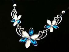 Blue Crystal Opal Three Flowers Pendant Choker Chain Necklace