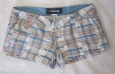 BILLABONG WOMEN LOOP BELTED COTTON PLAID SHORT PANTS SHORTS - SIZE 1 / W31- NWOT