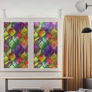 Rainbow 3D Privacy Window Film Stained Glass Static Cling Sticker Frosted Decor!