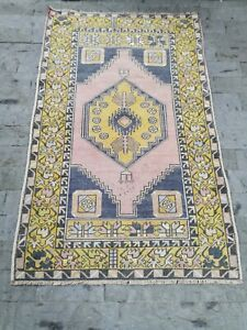 Traditional Authentic Vintage Hand Knotted Oushak Carpet Turkish Area Rug 3x6 ft