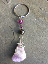 Banded Amethyst Handmade Wire Wrapped Keychain-Purse Fob- Car Mirror Hanger