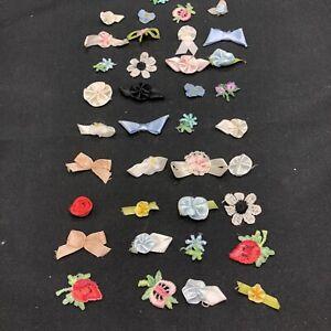 LOT 37 VTG Lingerie Ribbons Rosettes Bows Appliqués Applique Many Colors Styles