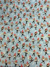 Ninja Gnomes & Pixels Blue Michael Miller Fabric FQ 50cmX56cm More 100% Cotton