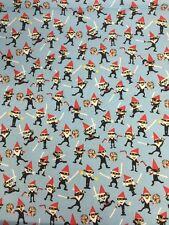 Ninja GNOMOS & píxeles Azul MICHAEL MILLER TELA FQ 50cmX56cm más de 100% algodón