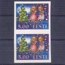 ESTONIA DOUBLE-ERROR SHIFTED RED IMPERFORATED PAIR 5.00 CHRISTMAS 1998