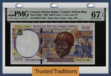 TT PK 304Fe 1999 CENTRAL AFRICAN STATES 5000 FRANCS PMG 67 EPQ SUPERB GEM UNC!