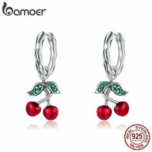 BAMOER Women Red Sweet Cherry Earrings S925 Sterling Silver Jewelry With AAA CZ