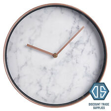 Rose Gold Marble Face Wall Clock Copper Hanging Round Bedroom Home Office 12 Hrs