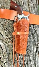 BRAND NEW Leather Holster and Belt Hand Tooled Embossed NATURAL Leather Set70201