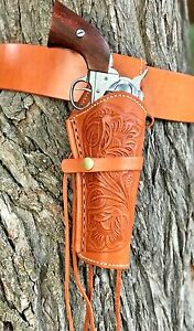 Leather Holster and Belt Hand Tooled Embossed NATURAL Leather Set TAN 70201