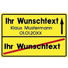 Schild Wunschtext als Ortsschild Kunststoff stabil 20x30cm Geschenk Party  #R35