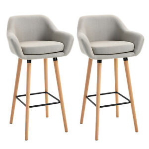 Modern Bar Stools Set Padded Tub Seat Backrest Kitchen Counter Dining Chair Grey