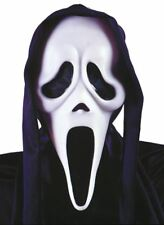 Halloween One Size Ghost Face Adult Scream Mask With Black Hood