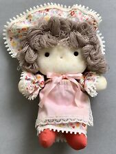 Vintage KY INTL Stuffed Girl Doll Yarn Hair with Hat and Dress Collectible Toy