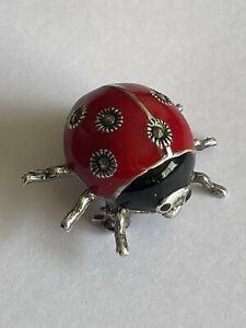 925 Silver Red Black Enamel & Marcasite Ladybird Ladybug Small Pin Brooch