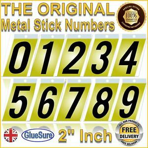 """THE ORIGINAL 2"""" Stick Adhesive Metal Numbers House Door Sign Dustbin Home Gate"""