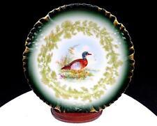 """T & V Limoges France Tressemanes & Vogt Green Gilded 9 1/8"""" Duck Game Plate 1892"""
