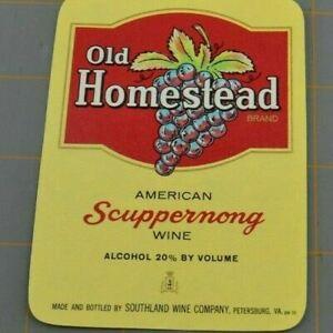 Old Homestead American Scuppernong Wine Southland Vintage Paper Label Ephemera