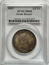 More details for great britain 1/2 half crown 1819, pcgs ms62,