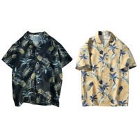 Mens Pineapple Floral Print Shirts Tops Casual Short Sleeve Hawaiian Beach Shirt