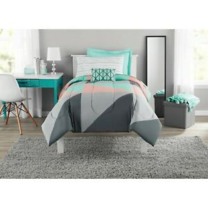 Geo Colorblock 8-pc King Bed in a Bag Bedding Set w Sheet Set Pillow Grey Teal