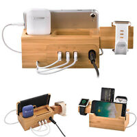 Bamboo Wood Charging Dock Charger Station Holder For Apple Watch iPhone Airpods