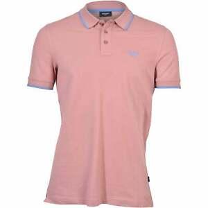Joop! Jeans Contrast Collar Cotton Jersey Men's Polo Shirt, Coral Orange w/blue