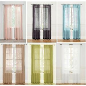 Pair (2 Panels) - Sheer Slot Top Plain Voile Net Curtain Panels  -  Free Postage