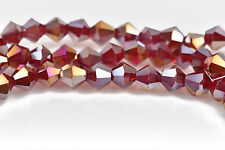 6mm RED AB Bicone Glass Crystal Beads, Faceted Beads, 50 beads, bgl1557