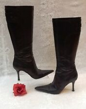 GENUINE KAREN MILLEN LEATHER DARK BROWN KNEE HIGH BOOTS SIZE