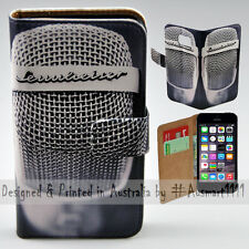 Wallet Phone Case Flip Cover for Apple iPhone 5 5S - Vintage Steel Mesh Mic