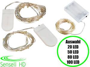 LED Lichterkette Batterie Micro 20 50 80 100 LEDs warmweiß Deko Draht Party