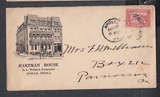 USA 1913 HARTMAN HOUSE HOTEL ILLUSTRATED COVER APOLLO TO PARNASSUS PENNSYLVANIA
