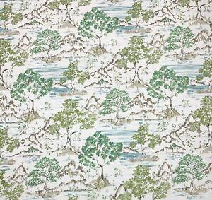 "COVINGTON HIKARU WILLOW GREEN ASIAN TREE TOILE MULTIUSE FABRIC BY YARD 54""W"