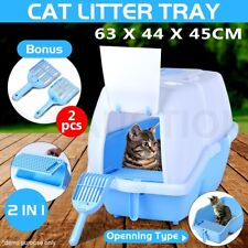 Pet Cat Toilet Litter Pan Box Tray House Kitten Hooded Flap Door Two Scoops