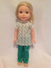 "Fits Wellie Wishers St. Patrick's Day pants dress American Girl 14"" doll clothes"