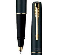 Parker Frontier Matte Black GT Gold Trim Rollerball Roller Ball Pen Blue Ink New