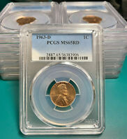 1963 D 1C RD Lincoln Cent PCGS MS65RD